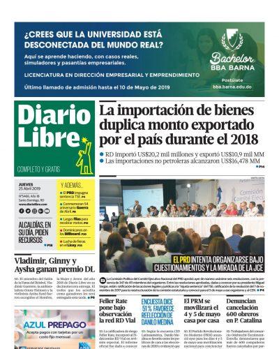 Portada Periódico Diario Libre, Jueves 25 Abril 2019