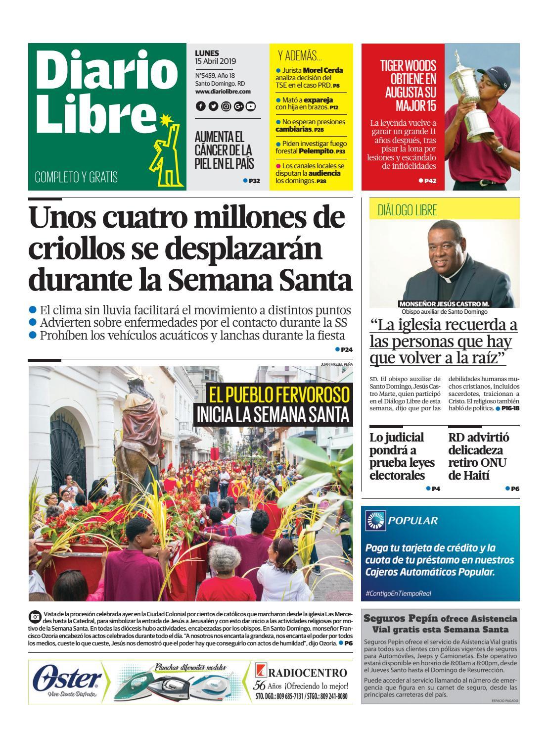 Portada Periódico Diario Libre, Lunes 15 Abril 2019