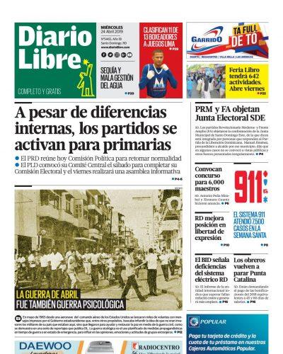 Portada Periódico Diario Libre, Miércoles 24 Abril 2019