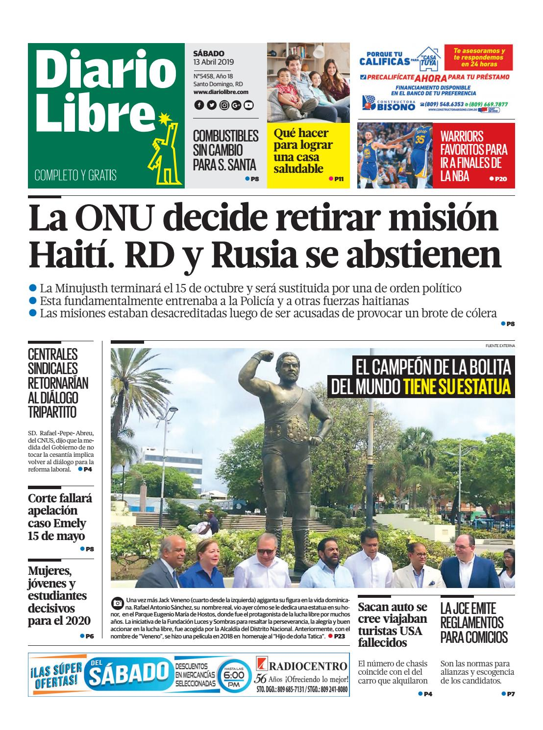 Portada Periódico Diario Libre, Sábado 13 Abril 2019