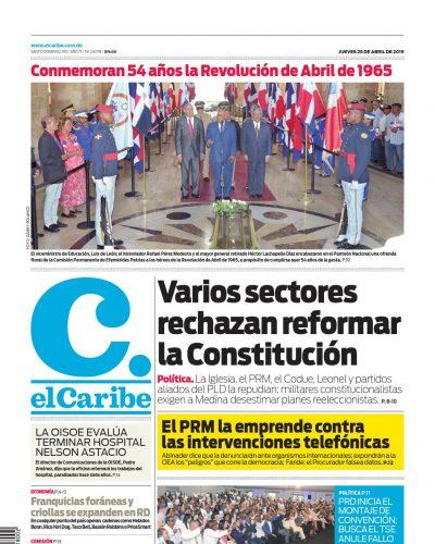 Portada Periódico El Caribe, Jueves 25 Abril 2019