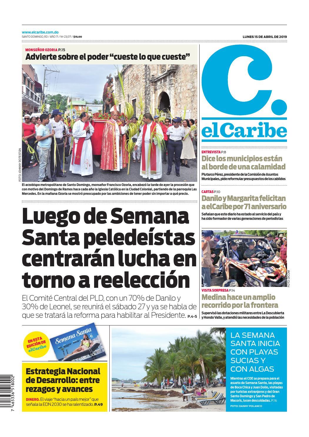 Portada Periódico El Caribe, Lunes 15 Abril 2019