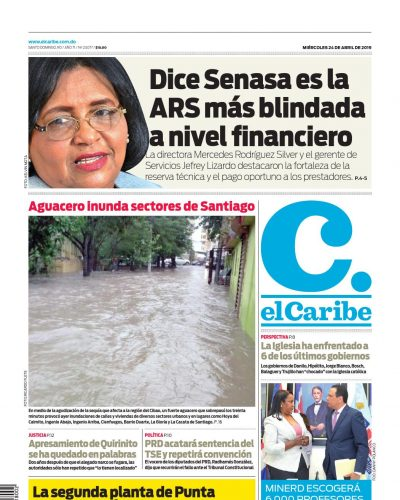 Portada Periódico El Caribe, Miércoles 24 Abril 2019