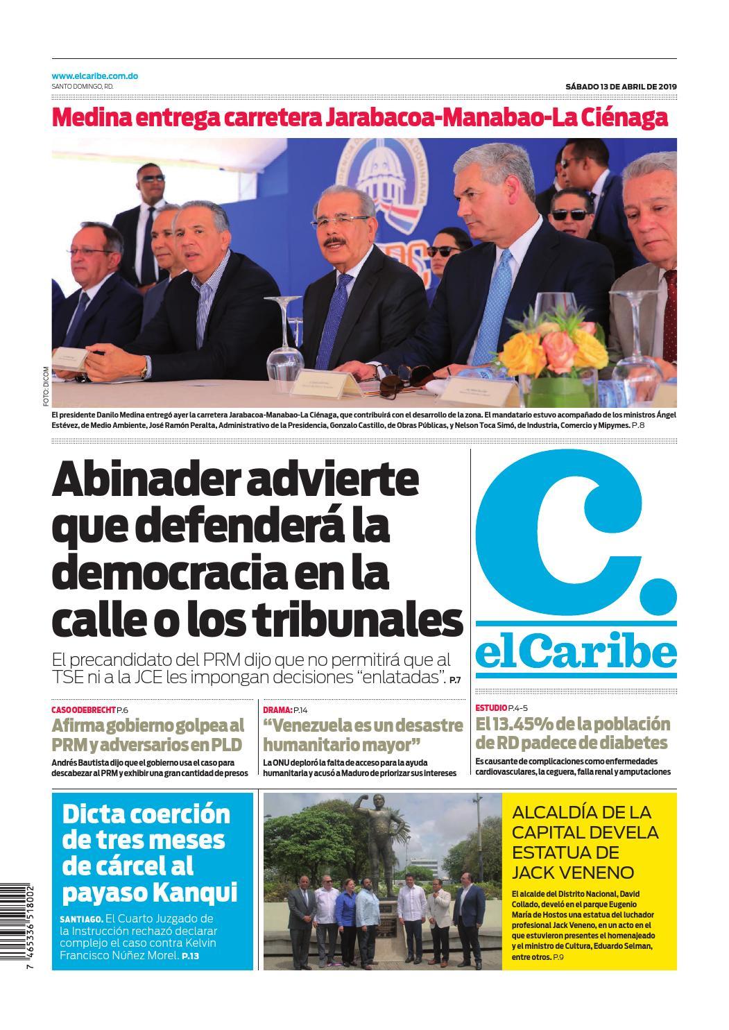 Portada Periódico El Caribe, Sábado 13 Abril 2019