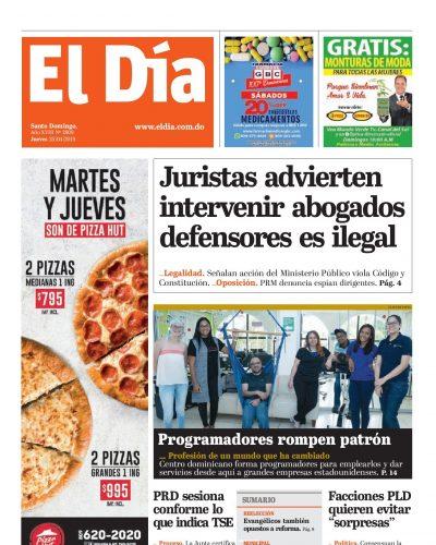 Portada Periódico El Día, Jueves 25 Abril 2019