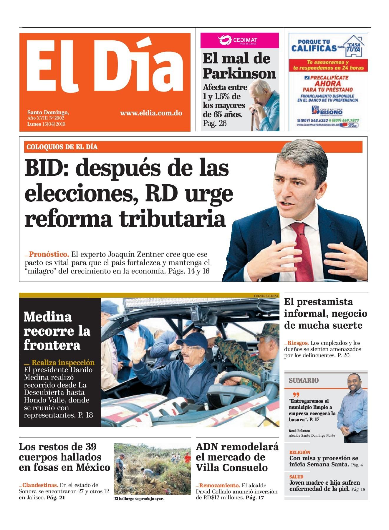Portada Periódico El Día, Lunes 15 Abril 2019
