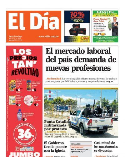 Portada Periódico El Día, Miércoles 24 Abril 2019