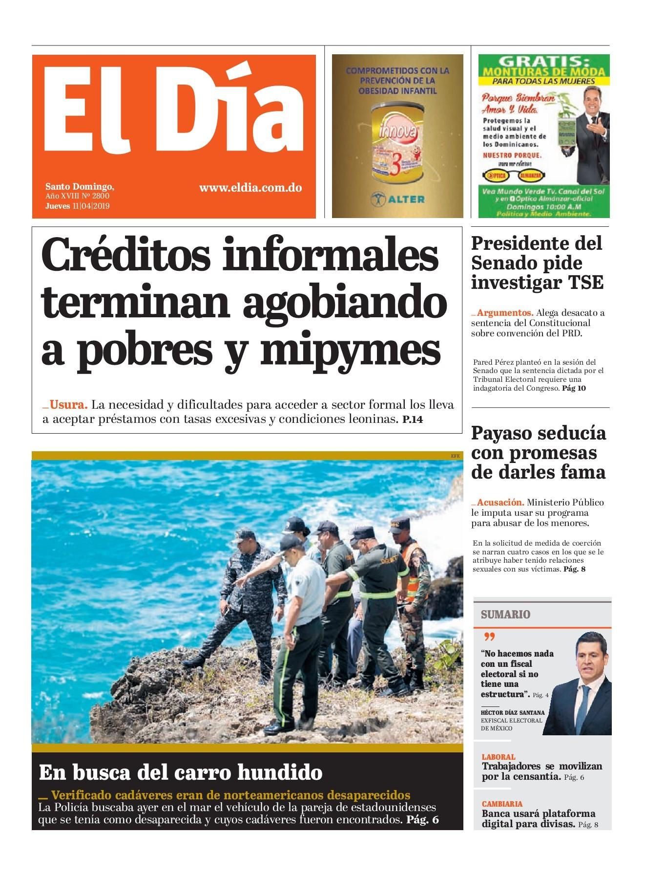 Portada Periódico El Día, Viernes 12 Abril 2019