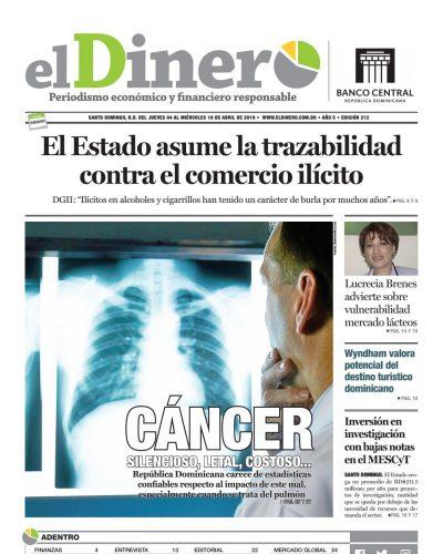 Portada Periódico El Dinero, Jueves 04 Abril 2019