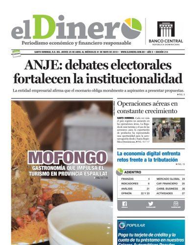 Portada Periódico El Dinero, Jueves 25 Abril 2019