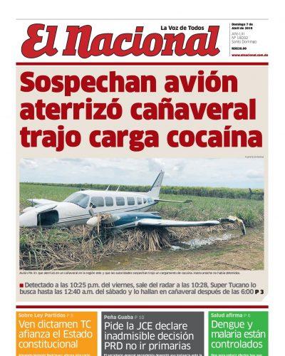 Portada Periódico El Nacional, Domingo 07 Abril 2019