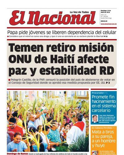 Portada Periódico El Nacional, Domingo 14 Abril 2019