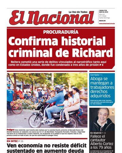 Portada Periódico El Nacional, Jueves 04 Abril 2019