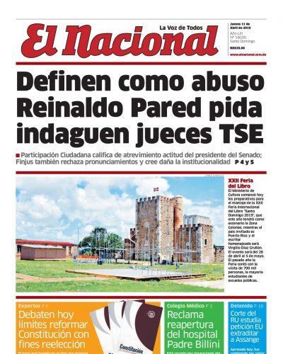 Portada Periódico El Nacional, Jueves 11 Abril 2019