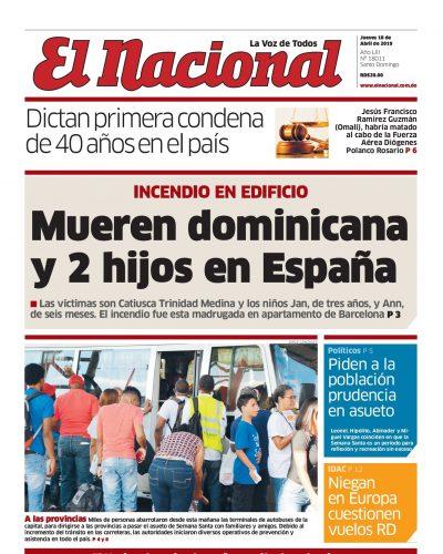 Portada Periódico El Nacional, Jueves 18 Abril 2019