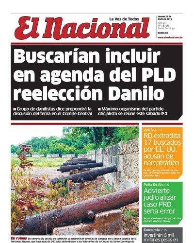 Portada Periódico El Nacional, Jueves 25 Abril 2019