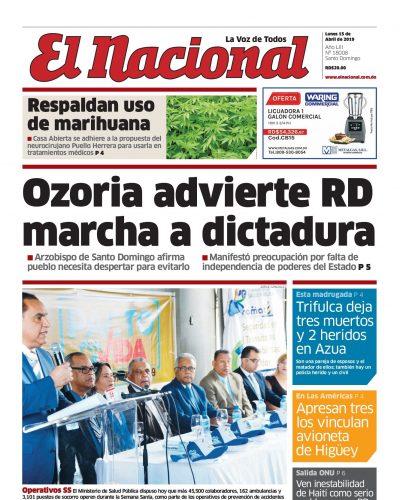 Portada Periódico El Nacional, Lunes 15 Abril 2019
