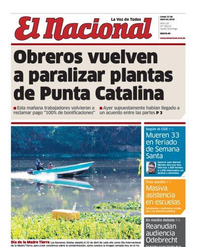 Portada Periódico El Nacional, Lunes 22 Abril 2019
