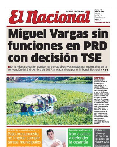 Portada Periódico El Nacional, Martes 09 Abril 2019