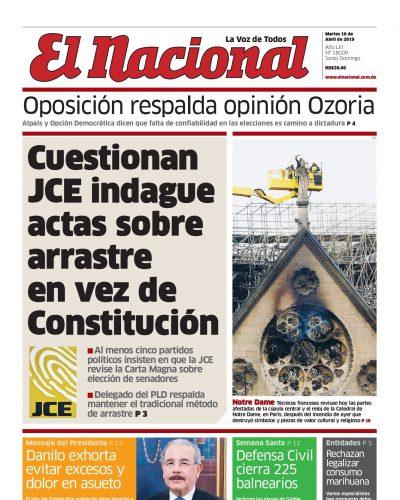 Portada Periódico El Nacional, Martes 16 Abril 2019
