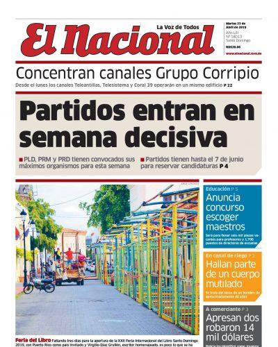 Portada Periódico El Nacional, Martes 23 Abril 2019
