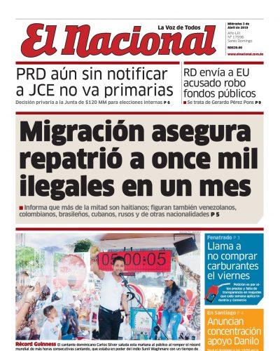 Portada Periódico El Nacional, Miércoles 03 Abril 2019