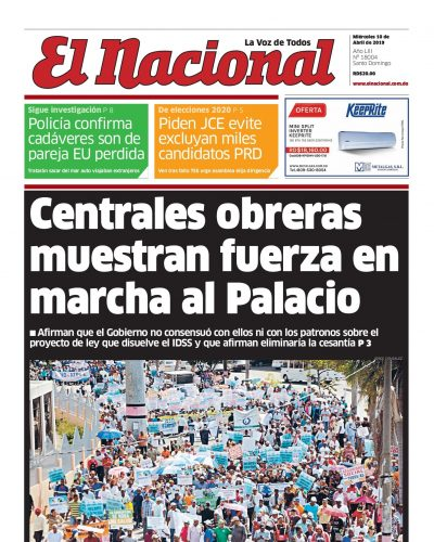 Portada Periódico El Nacional, Miércoles 10 Abril 2019