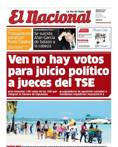 Portada Periódico El Nacional, Miércoles 17 Abril 2019