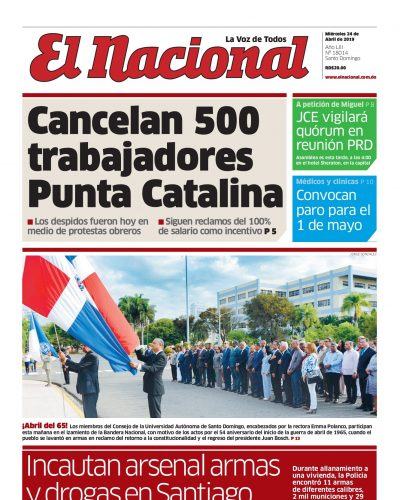 Portada Periódico El Nacional, Miércoles 24 Abril 2019