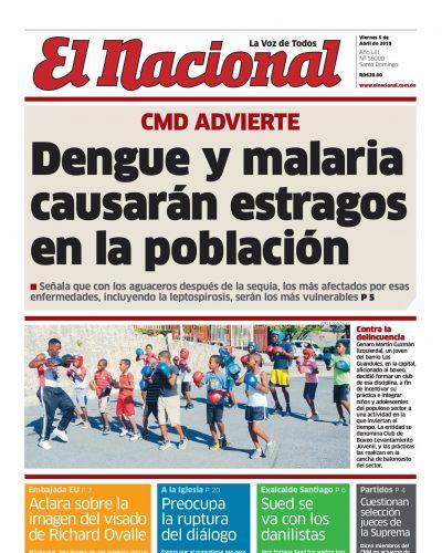 Portada Periódico El Nacional, Viernes 05 Abril 2019