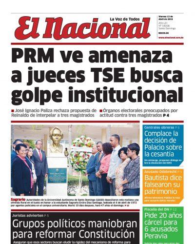 Portada Periódico El Nacional, Viernes 12 Abril 2019