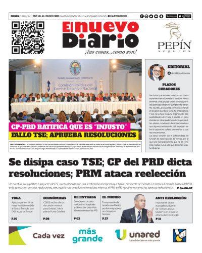 Portada Periódico El Nuevo Diario, Jueves 25 Abril 2019