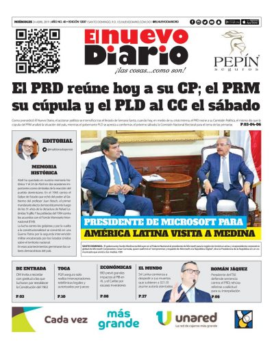 Portada Periódico El Nuevo Diario, Miércoles 24 Abril 2019
