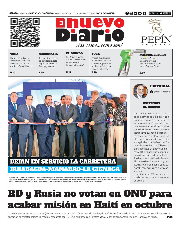 Portada Periódico El Nuevo Diario, Sábado 13 Abril 2019