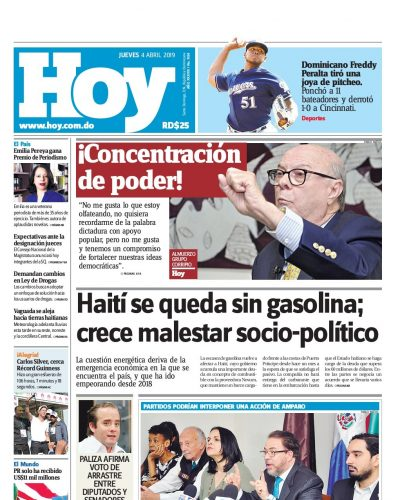Portada Periódico Hoy, Jueves 04 Abril 2019