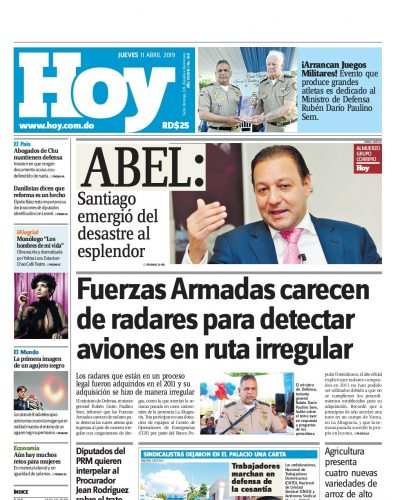 Portada Periódico Hoy, Jueves 11 Abril 2019