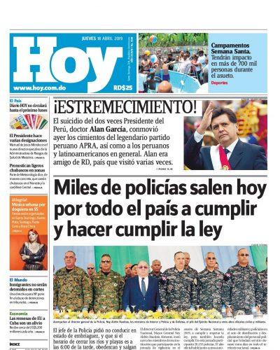 Portada Periódico Hoy, Jueves 18 Abril 2019