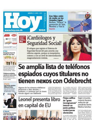 Portada Periódico Hoy, Jueves 25 Abril 2019