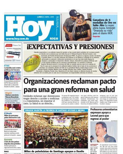 Portada Periódico Hoy, Lunes 08 Abril 2019