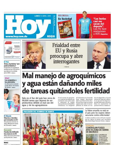 Portada Periódico Hoy, Lunes 15 Abril 2019