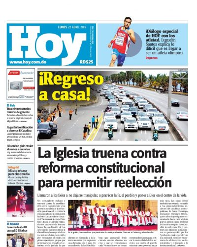 Portada Periódico Hoy, Lunes 22 Abril 2019