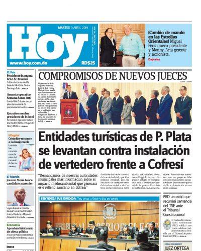 Portada Periódico Hoy, Martes 09 Abril 2019