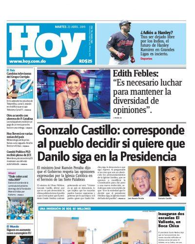 Portada Periódico Hoy, Martes 23 Abril 2019