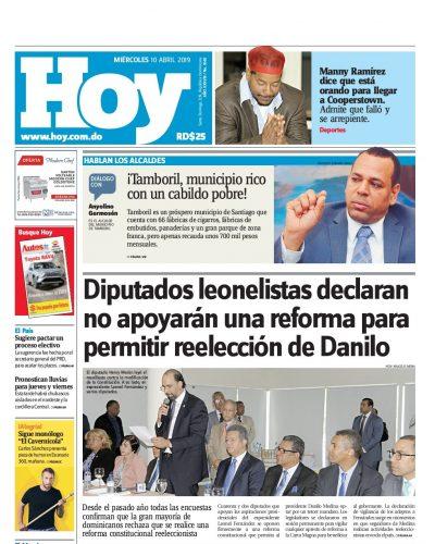 Portada Periódico Hoy, Miércoles 10 Abril 2019