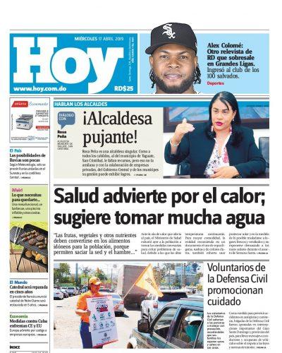 Portada Periódico Hoy, Miércoles 17 Abril 2019
