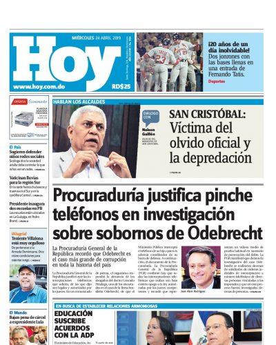 Portada Periódico Hoy, Miércoles 24 Abril 2019