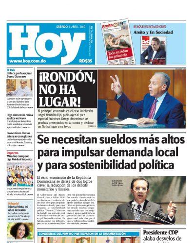 Portada Periódico Hoy, Sábado 06 Abril 2019