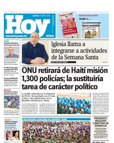 Portada Periódico Hoy, Sábado 13 Abril 2019