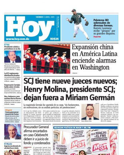 Portada Periódico Hoy, Viernes 05 Abril 2019