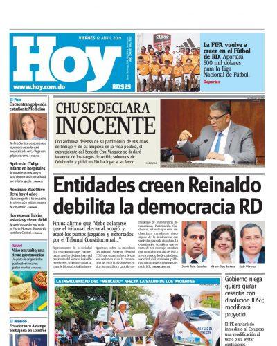Portada Periódico Hoy, Viernes 12 Abril 2019